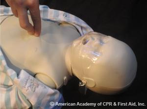 CPR Technique on infant chest compression