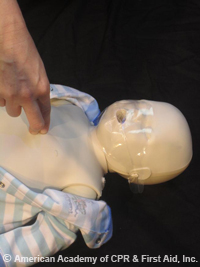 One rescure using two fingure technique for chest compression on infant